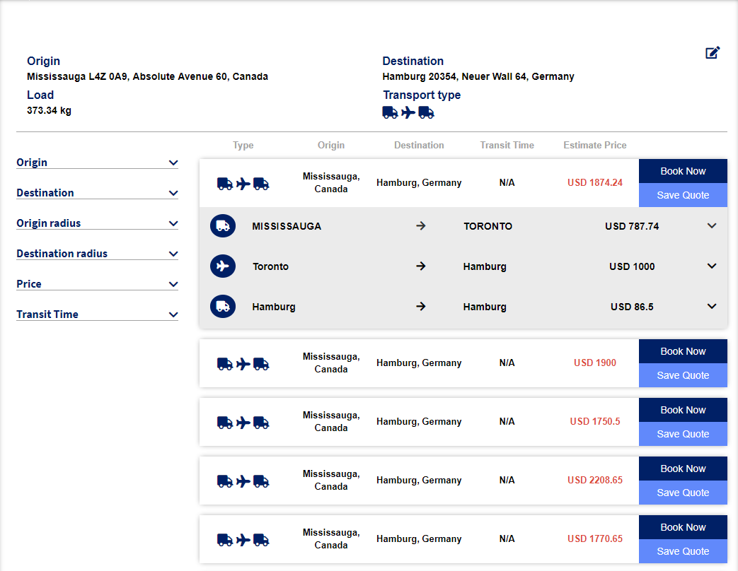 Freight Forwarding Technology Screenshot